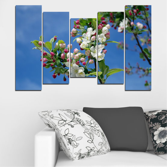 Canvas prints & wall decorative panels - 5 pieces №0578 » Blue, Turquoise, Gray, Dark grey » Flowers, Nature, Spring, Tree Form #4