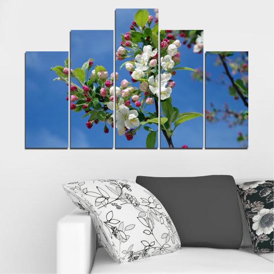 Декоративни панели и картини от канава - от 5 части №0578 » Син, Тюркоаз, Сив, Тъмно сив » Цветя, Природа, Пролет, Дърво Form #5