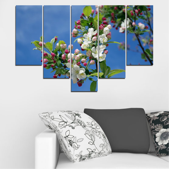 Canvas prints & wall decorative panels - 5 pieces №0578 » Blue, Turquoise, Gray, Dark grey » Flowers, Nature, Spring, Tree Form #6