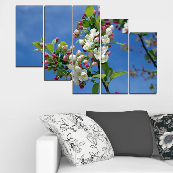 Canvas prints & wall decorative panels - 5 pieces №0578 » Blue, Turquoise, Gray, Dark grey » Flowers, Nature, Spring, Tree Form #7
