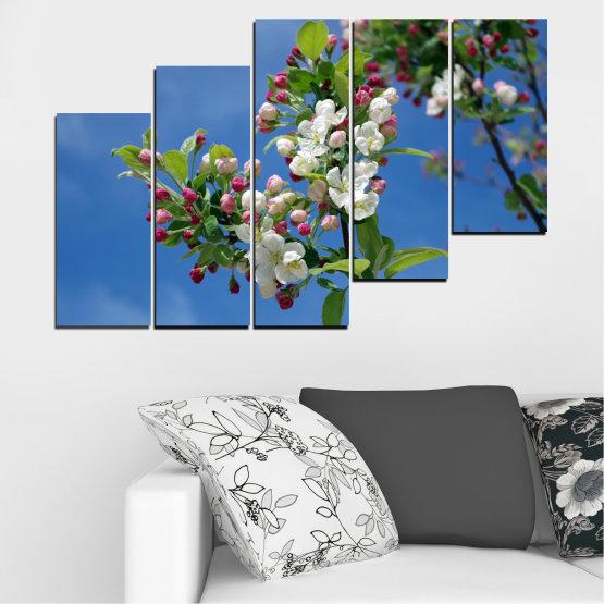 Декоративни панели и картини от канава - от 5 части №0578 » Син, Тюркоаз, Сив, Тъмно сив » Цветя, Природа, Пролет, Дърво Form #8