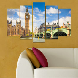 City, Bridge, London, Symbol, Great britain, Capital, Watch, Big ben » Blue, Brown, Gray