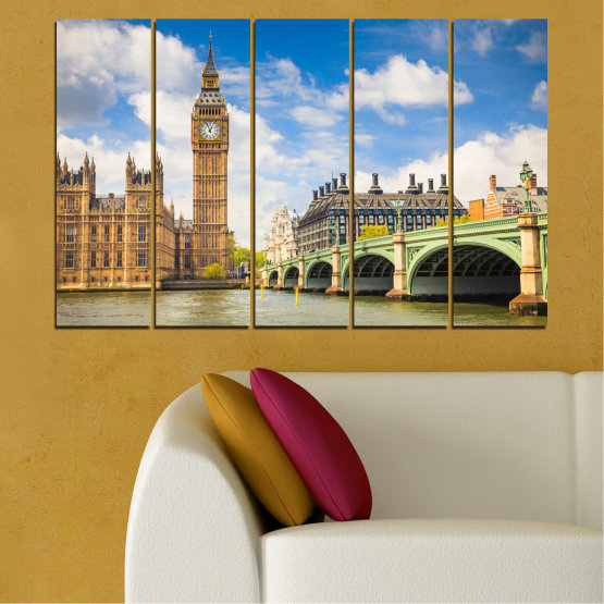 Canvas prints & wall decorative panels - 5 pieces №0579 » Blue, Brown, Gray » City, Bridge, Symbol, London, Capital, Watch, Great britain, Big ben Form #2