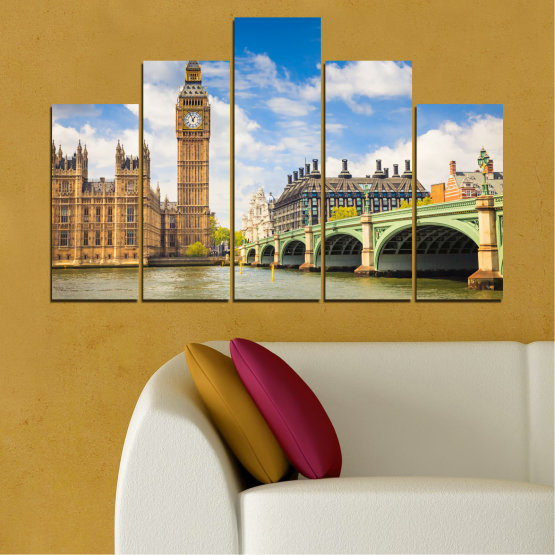 Canvas prints & wall decorative panels - 5 pieces №0579 » Blue, Brown, Gray » City, Bridge, Symbol, London, Capital, Watch, Great britain, Big ben Form #5