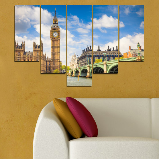 Canvas prints & wall decorative panels - 5 pieces №0579 » Blue, Brown, Gray » City, Bridge, Symbol, London, Capital, Watch, Great britain, Big ben Form #6