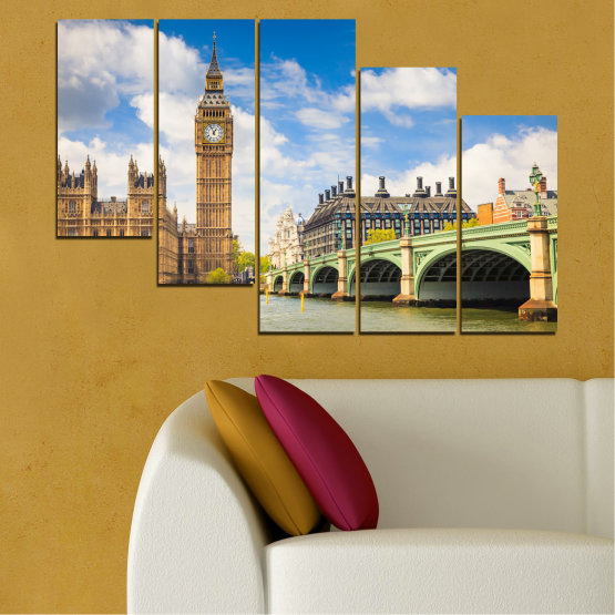 Canvas prints & wall decorative panels - 5 pieces №0579 » Blue, Brown, Gray » City, Bridge, Symbol, London, Capital, Watch, Great britain, Big ben Form #7