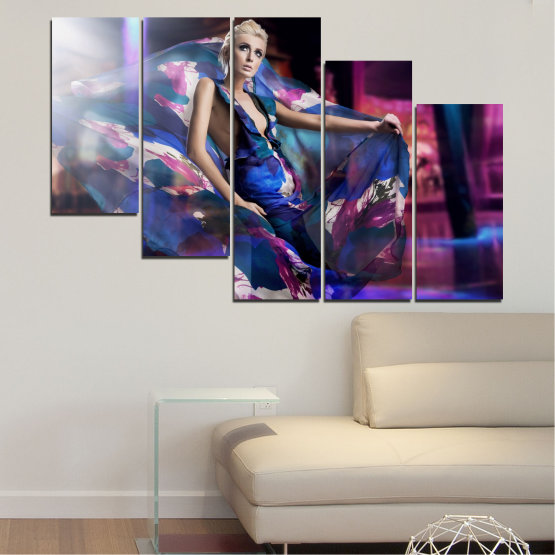 Canvas prints & wall decorative panels - 5 pieces №0058 » Blue, Black, Gray, Dark grey » Woman, Collage, Fashion Form #7