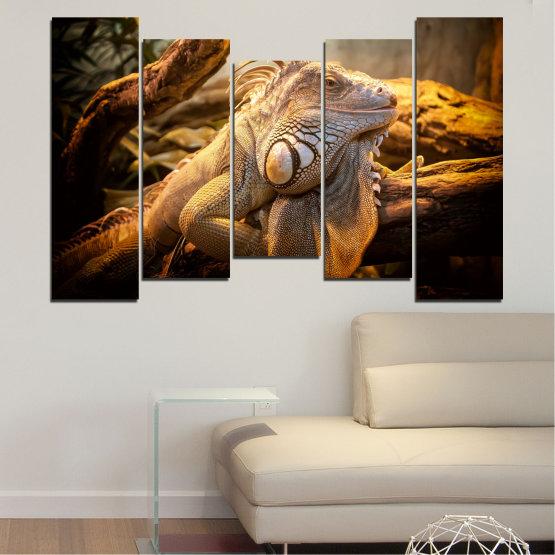 Декоративни панели и картини от канава - от 5 части №0580 » Кафяв, Черен, Сив, Бежов » Животни, Влечуго, Игуана Form #4