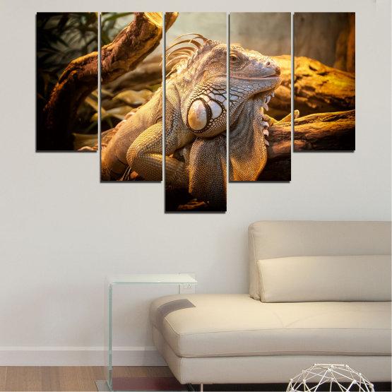 Декоративни панели и картини от канава - от 5 части №0580 » Кафяв, Черен, Сив, Бежов » Животни, Влечуго, Игуана Form #6