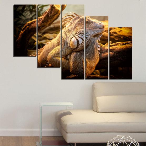 Декоративни панели и картини от канава - от 5 части №0580 » Кафяв, Черен, Сив, Бежов » Животни, Влечуго, Игуана Form #7