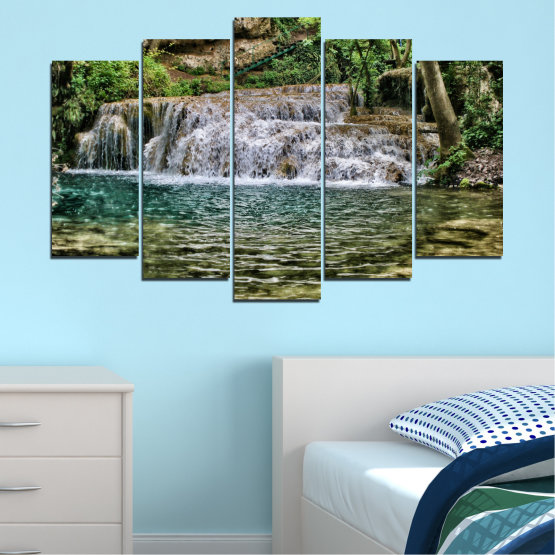 Canvas prints & wall decorative panels - 5 pieces №0581 » Green, Brown, Black, Gray, Dark grey » Landscape, Nature, Waterfall, Water Form #1