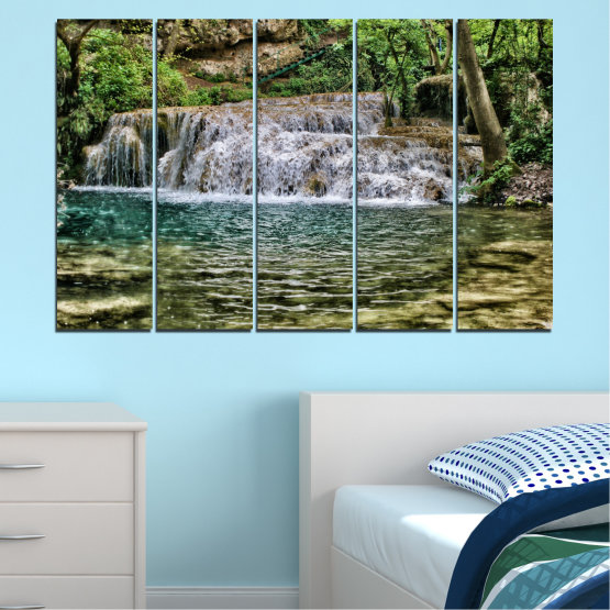 Canvas prints & wall decorative panels - 5 pieces №0581 » Green, Brown, Black, Gray, Dark grey » Landscape, Nature, Waterfall, Water Form #2
