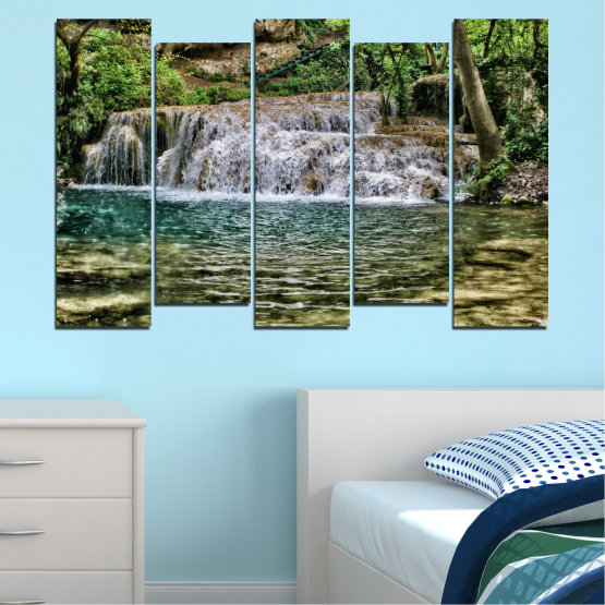 Canvas prints & wall decorative panels - 5 pieces №0581 » Green, Brown, Black, Gray, Dark grey » Landscape, Nature, Waterfall, Water Form #3