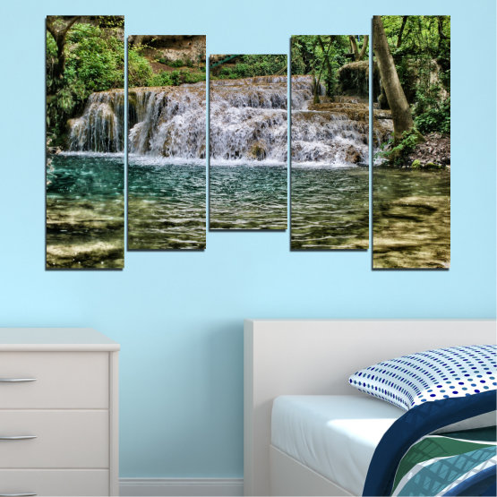 Canvas prints & wall decorative panels - 5 pieces №0581 » Green, Brown, Black, Gray, Dark grey » Landscape, Nature, Waterfall, Water Form #4