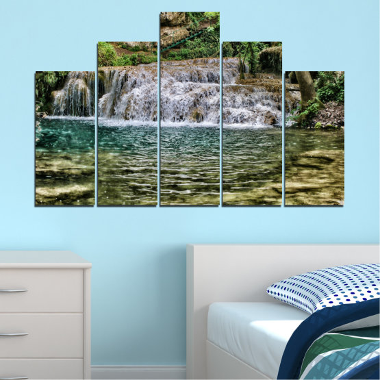Canvas prints & wall decorative panels - 5 pieces №0581 » Green, Brown, Black, Gray, Dark grey » Landscape, Nature, Waterfall, Water Form #5
