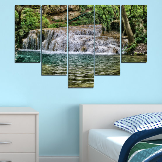 Canvas prints & wall decorative panels - 5 pieces №0581 » Green, Brown, Black, Gray, Dark grey » Landscape, Nature, Waterfall, Water Form #6