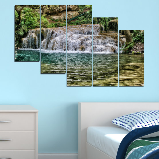 Canvas prints & wall decorative panels - 5 pieces №0581 » Green, Brown, Black, Gray, Dark grey » Landscape, Nature, Waterfall, Water Form #7