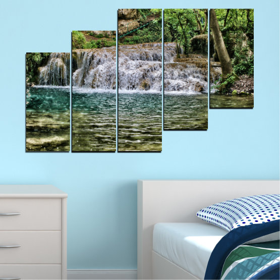Canvas prints & wall decorative panels - 5 pieces №0581 » Green, Brown, Black, Gray, Dark grey » Landscape, Nature, Waterfall, Water Form #8
