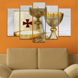 Religion, Cross, Chalice » Green, Brown, Gray, Beige