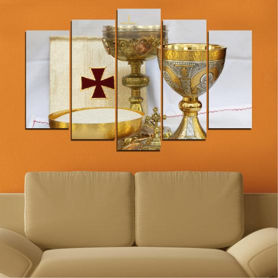 Εκτύπωση σε καμβά και διακοσμητικά πάνελ τοίχου - 5 τεμάχια №0582 » Πράσινος, Καστανός, Γκρί, Μπεζ » Θρησκεία, Σταυρός, Δισκοπότηρο Form #1