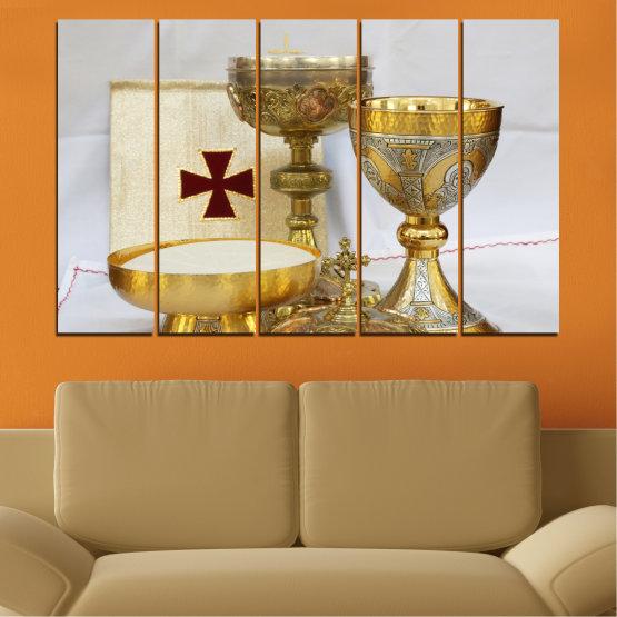 Εκτύπωση σε καμβά και διακοσμητικά πάνελ τοίχου - 5 τεμάχια №0582 » Πράσινος, Καστανός, Γκρί, Μπεζ » Θρησκεία, Σταυρός, Δισκοπότηρο Form #2