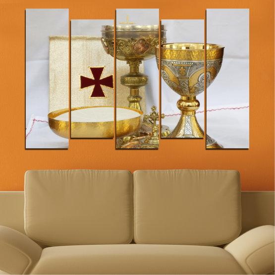 Εκτύπωση σε καμβά και διακοσμητικά πάνελ τοίχου - 5 τεμάχια №0582 » Πράσινος, Καστανός, Γκρί, Μπεζ » Θρησκεία, Σταυρός, Δισκοπότηρο Form #3