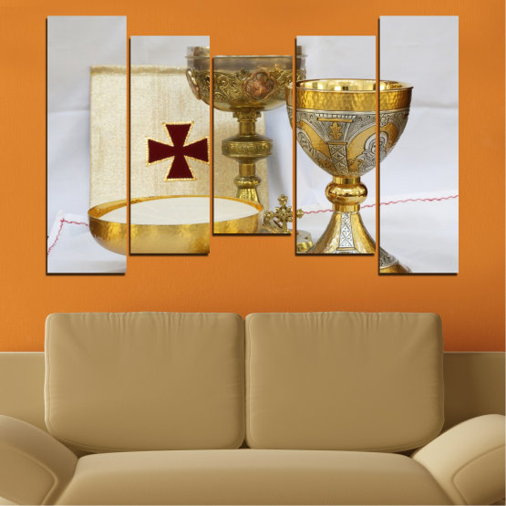Canvas prints & wall decorative panels - 5 pieces №0582 » Green, Brown, Gray, Beige » Religion, Cross, Chalice Form #4