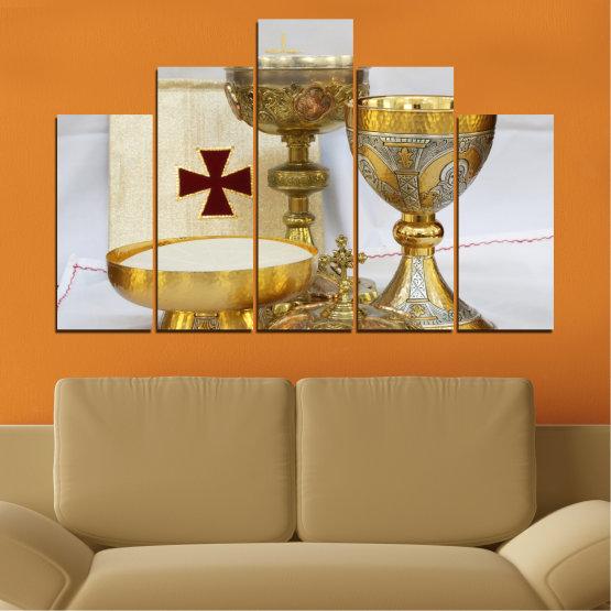 Εκτύπωση σε καμβά και διακοσμητικά πάνελ τοίχου - 5 τεμάχια №0582 » Πράσινος, Καστανός, Γκρί, Μπεζ » Θρησκεία, Σταυρός, Δισκοπότηρο Form #5