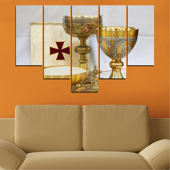 Canvas prints & wall decorative panels - 5 pieces №0582 » Green, Brown, Gray, Beige » Religion, Cross, Chalice Form #6