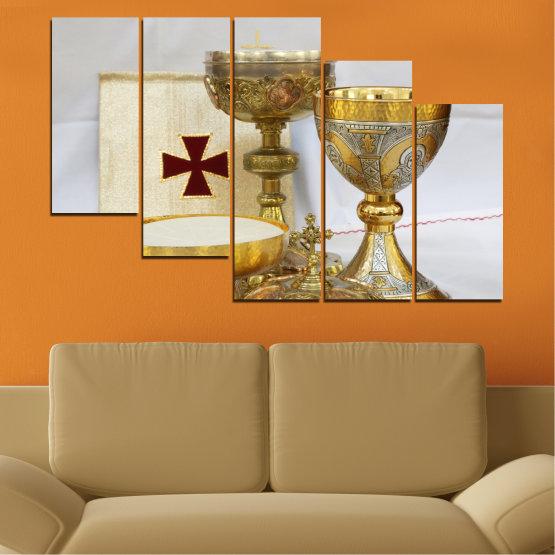 Εκτύπωση σε καμβά και διακοσμητικά πάνελ τοίχου - 5 τεμάχια №0582 » Πράσινος, Καστανός, Γκρί, Μπεζ » Θρησκεία, Σταυρός, Δισκοπότηρο Form #7