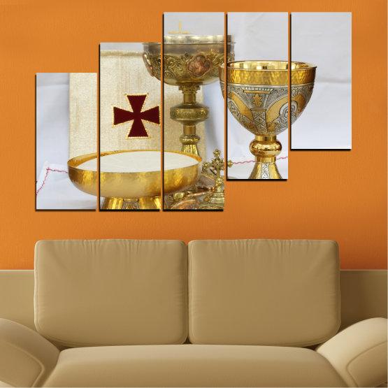 Εκτύπωση σε καμβά και διακοσμητικά πάνελ τοίχου - 5 τεμάχια №0582 » Πράσινος, Καστανός, Γκρί, Μπεζ » Θρησκεία, Σταυρός, Δισκοπότηρο Form #8