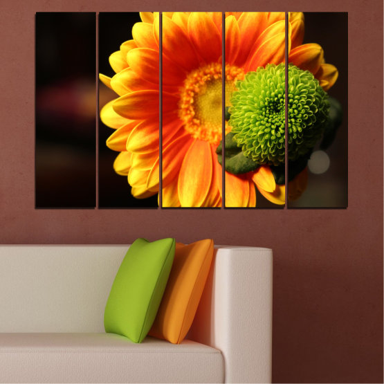Canvas prints & wall decorative panels - 5 pieces №0583 » Red, Yellow, Orange, Black » Flowers, Collage, Gerbera Form #2