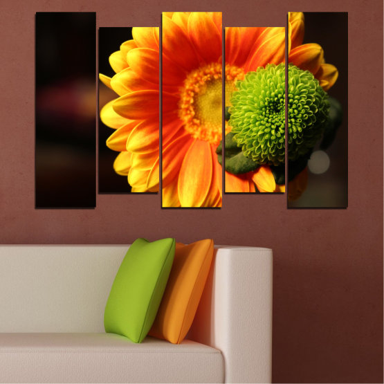 Canvas prints & wall decorative panels - 5 pieces №0583 » Red, Yellow, Orange, Black » Flowers, Collage, Gerbera Form #3