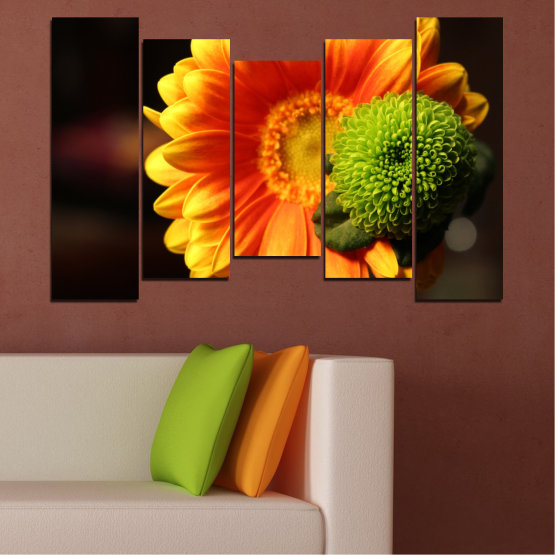 Canvas prints & wall decorative panels - 5 pieces №0583 » Red, Yellow, Orange, Black » Flowers, Collage, Gerbera Form #4