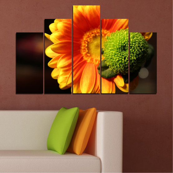 Canvas prints & wall decorative panels - 5 pieces №0583 » Red, Yellow, Orange, Black » Flowers, Collage, Gerbera Form #5