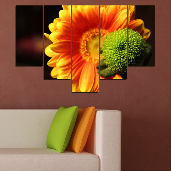 Canvas prints & wall decorative panels - 5 pieces №0583 » Red, Yellow, Orange, Black » Flowers, Collage, Gerbera Form #6