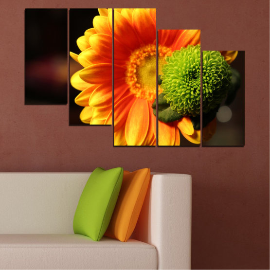 Canvas prints & wall decorative panels - 5 pieces №0583 » Red, Yellow, Orange, Black » Flowers, Collage, Gerbera Form #7