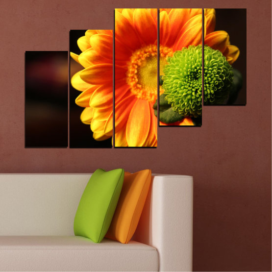 Canvas prints & wall decorative panels - 5 pieces №0583 » Red, Yellow, Orange, Black » Flowers, Collage, Gerbera Form #8