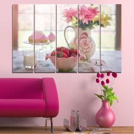 Декоративни панели и картини от канава - от 5 части №0584 Цветя 2-ра Форма