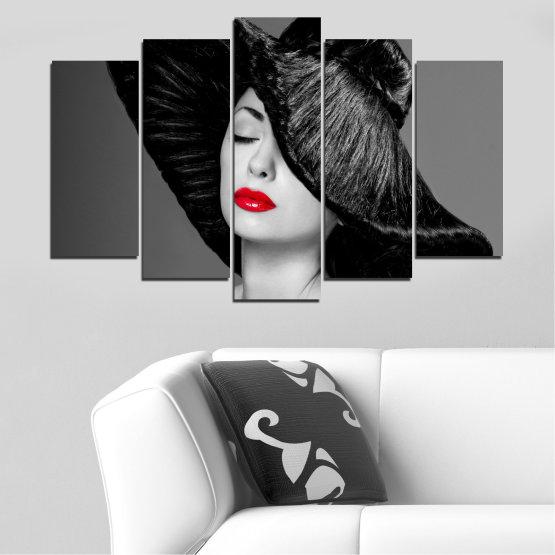 Canvas prints & wall decorative panels - 5 pieces №0585 » Black, Gray, Dark grey » Woman, Fashion, Hair, Makeup Form #1