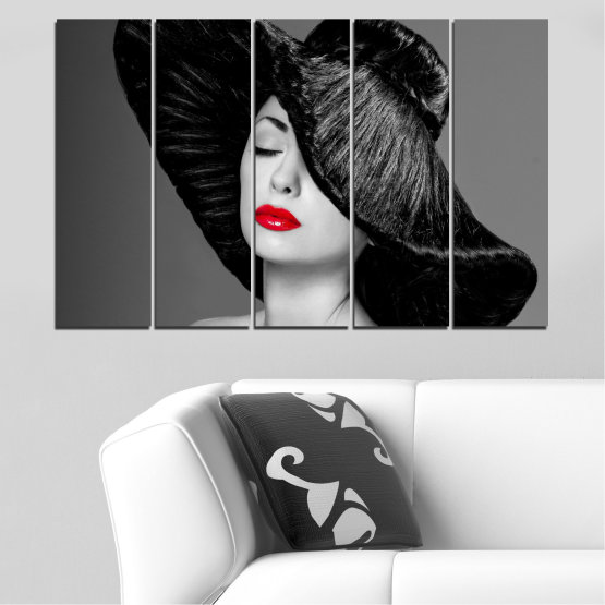 Canvas prints & wall decorative panels - 5 pieces №0585 » Black, Gray, Dark grey » Woman, Fashion, Hair, Makeup Form #2