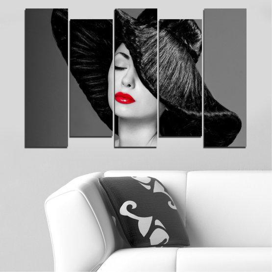 Canvas prints & wall decorative panels - 5 pieces №0585 » Black, Gray, Dark grey » Woman, Fashion, Hair, Makeup Form #3