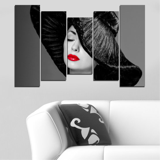 Canvas prints & wall decorative panels - 5 pieces №0585 » Black, Gray, Dark grey » Woman, Fashion, Hair, Makeup Form #4