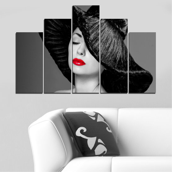 Canvas prints & wall decorative panels - 5 pieces №0585 » Black, Gray, Dark grey » Woman, Fashion, Hair, Makeup Form #5