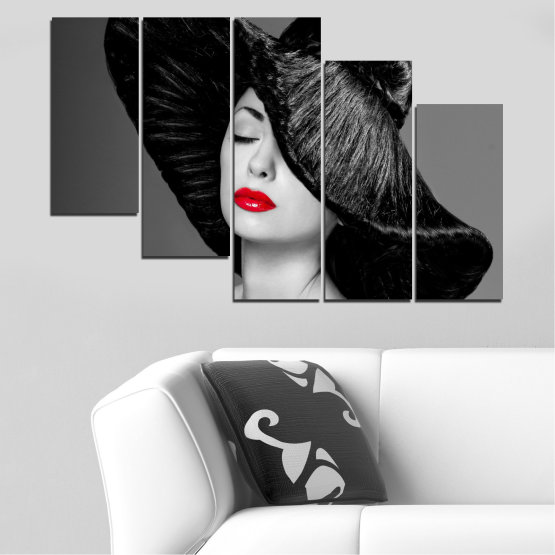 Canvas prints & wall decorative panels - 5 pieces №0585 » Black, Gray, Dark grey » Woman, Fashion, Hair, Makeup Form #7