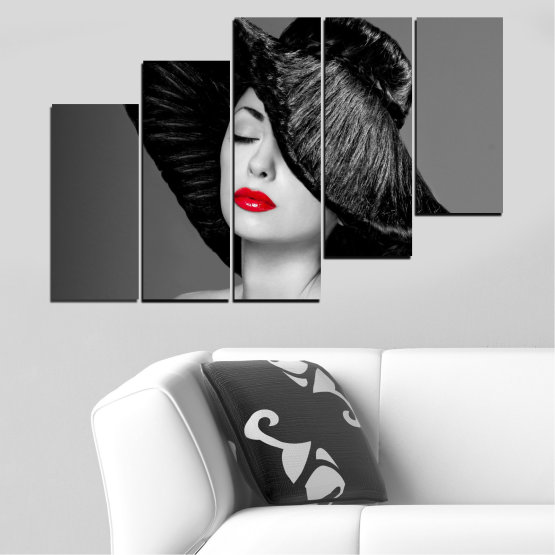 Canvas prints & wall decorative panels - 5 pieces №0585 » Black, Gray, Dark grey » Woman, Fashion, Hair, Makeup Form #8