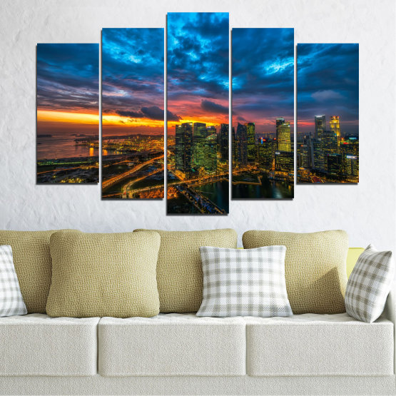 Canvas prints & wall decorative panels - 5 pieces №0586 » Blue, Black, Dark grey » Landscape, City, Lights, Night Form #1
