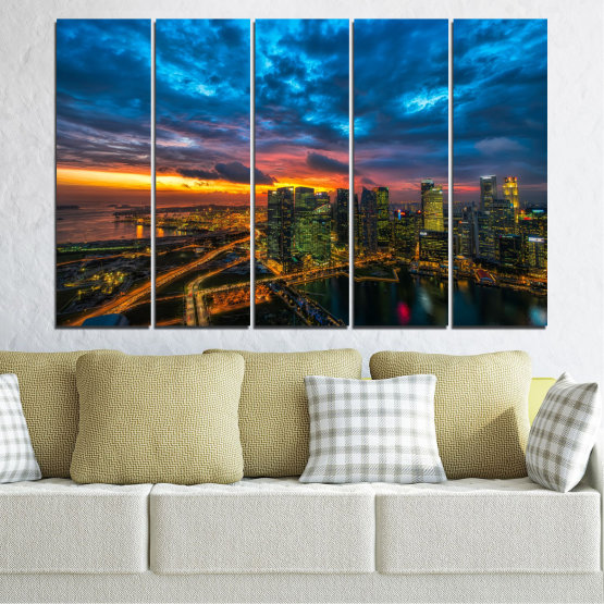Canvas prints & wall decorative panels - 5 pieces №0586 » Blue, Black, Dark grey » Landscape, City, Lights, Night Form #2