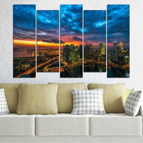 Canvas prints & wall decorative panels - 5 pieces №0586 » Blue, Black, Dark grey » Landscape, City, Lights, Night Form #3