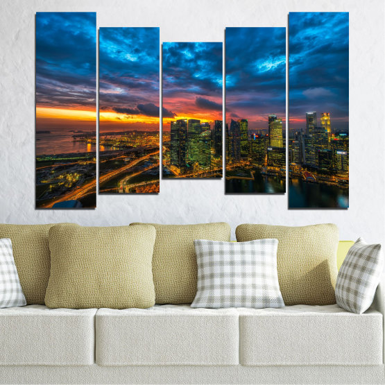 Canvas prints & wall decorative panels - 5 pieces №0586 » Blue, Black, Dark grey » Landscape, City, Lights, Night Form #4
